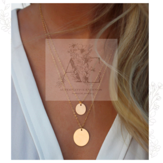 Layered Gold Personalised Disc Necklaces worn by model with AE logo