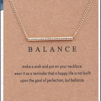 Balance Gold Bar Necklace with card