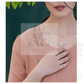 Sterling Silver Cherry Blossom Necklace worn by model