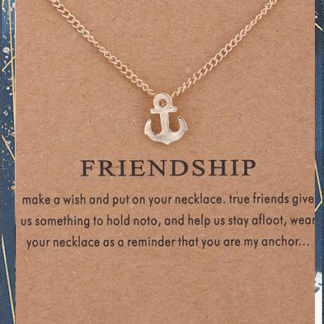 Gold Anchor Friendship Necklace with card