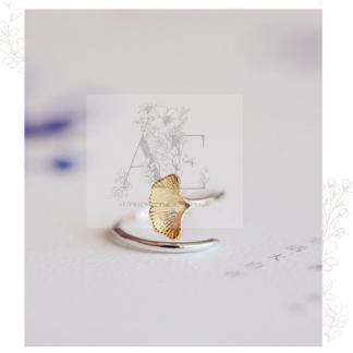 Sterling Silver Ginkgo Leaf Open Ring