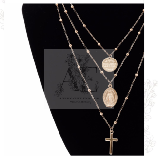 Gold Magdalene Medal and Cross Vintage Layered Necklace