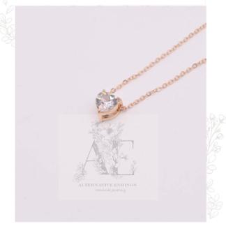 Gold Crystal Zircon Heart Pendant