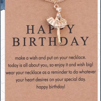 Happy Birthday Gold Ballerina Necklace and card