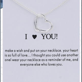 I Love You Silver Heart Necklace on a card