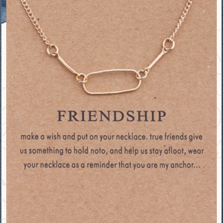 Friendship Gold Necklace and card