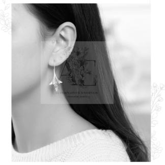Sterling Silver Flower Drop Earrings worn by model