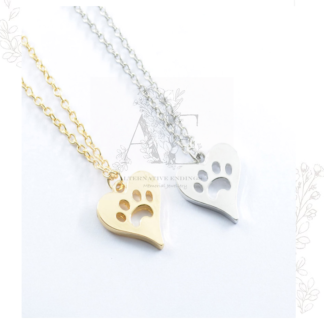Gold / Silver Paw Print in My Heart Necklace