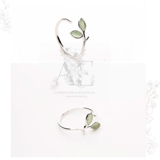 2 Silver Green Leaf Open Ring
