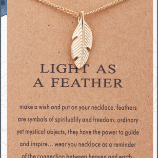 Gold Light as a Feather Necklace with card