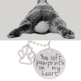 ou Left Paw Prints on My Heart Necklace and rabbit